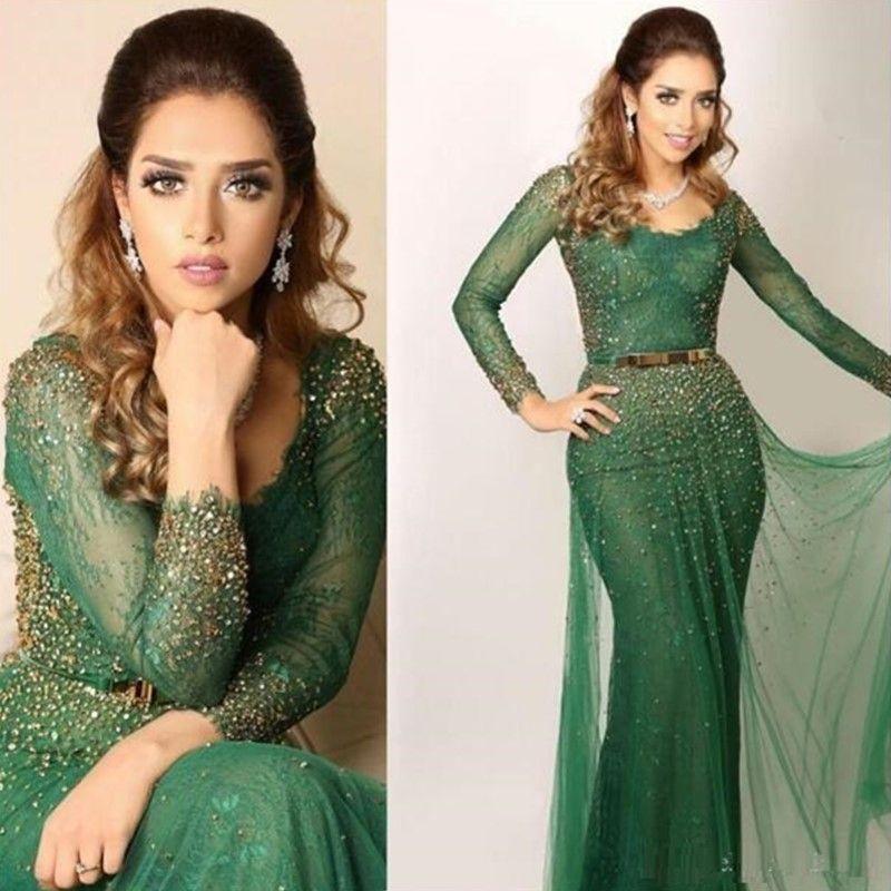 2019 Yeni Lüks Suudi Arapça Yeşil Abiye Bateau Dantel Kristal Boncuklu Şeffaf Uzun Kollu Balo Abiye Mermaid Giydir Akşam Giyim