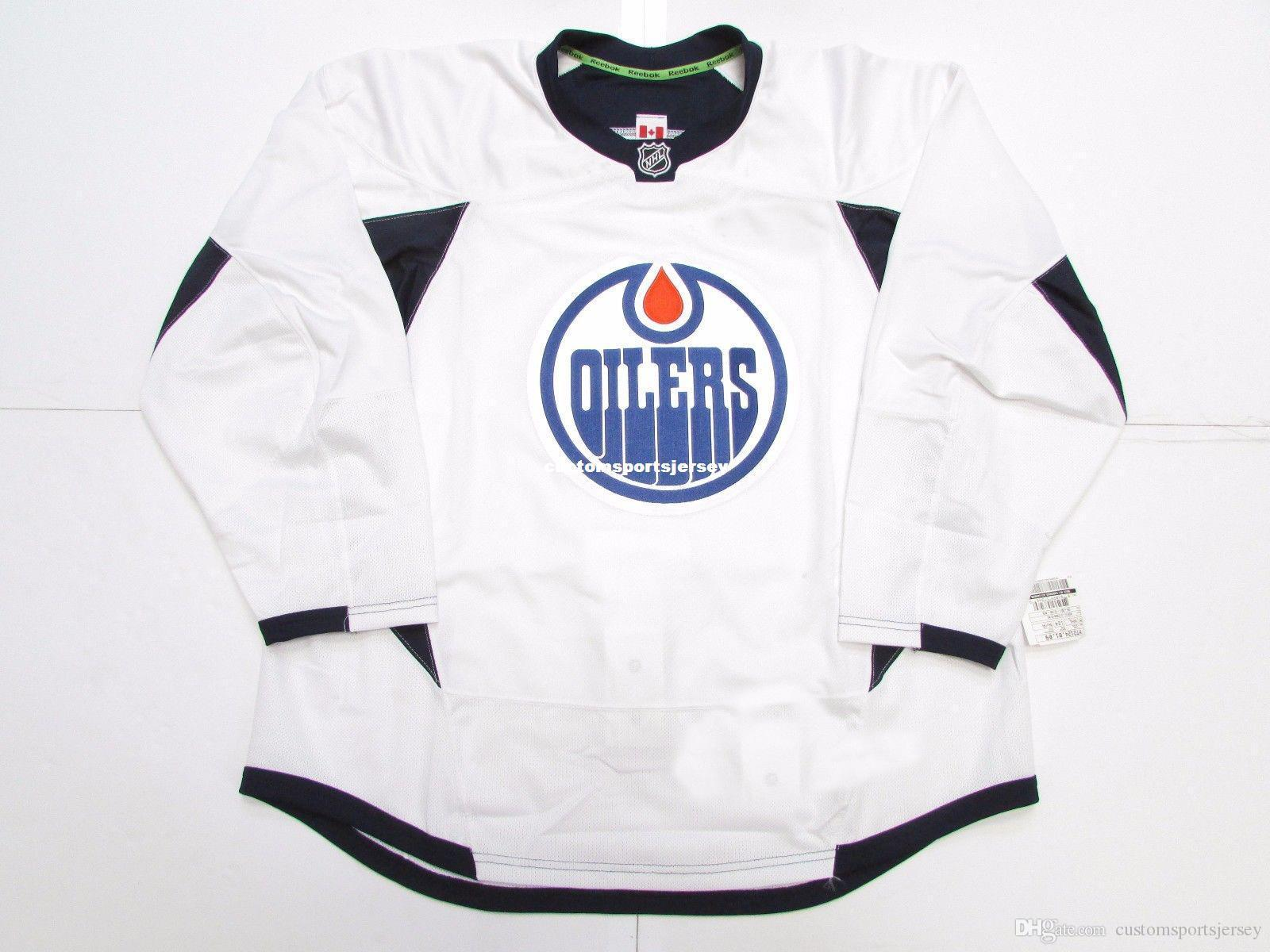 Günstige individuelle Edmonton Oilers WHITE EDGE PRAXIS Hockey Jersey Stich einer beliebigen Anzahl beliebigen Namen der Männer Hockey Jersey XS-5XL hinzufügen