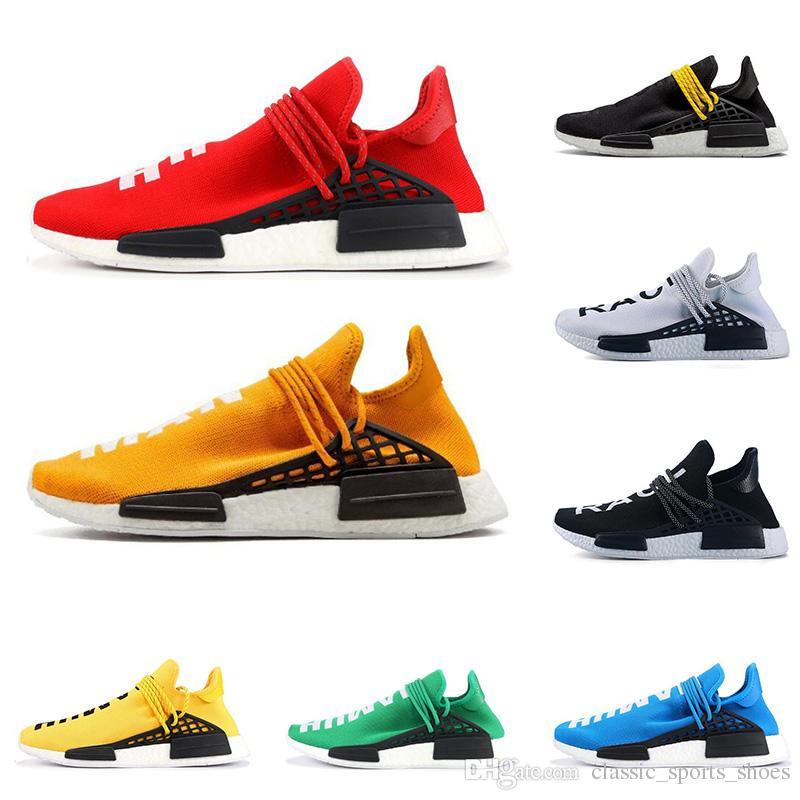 Hot vente PW race humaine hommes WILLIAMS femmes pharrell chaussures de course jaune hommes rouge blanc bleu noir trainer baskets de sport respirant