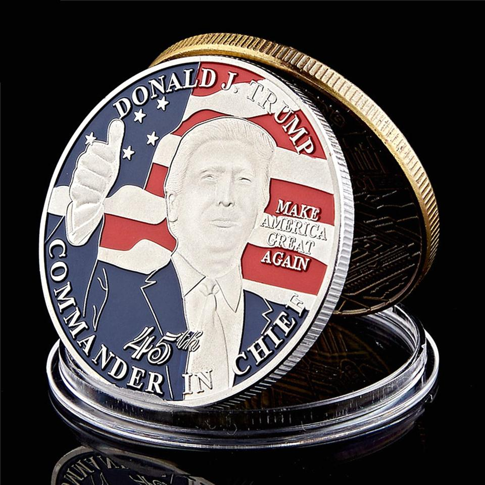 Commemorative Coin Donald Trump 45th President Make America Great Again Commander In Chief Silver Plated Medal Craft