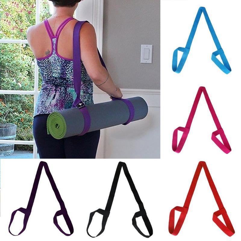 Solid Color Einstellbare Übung Stretch Fitness-Yoga-Matten-Halter Riemen-Fördermaschine Schulter Tragegurt Träger Krawatte Elastic Yoga Gürtel