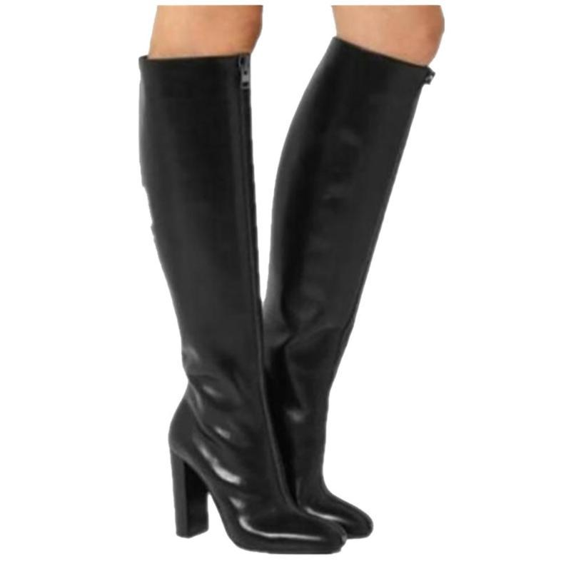 Estilo ASHIOFU nuevas mujeres calientes del talón grueso botas Prom Party Club de Rodilla Botas de gran tamaño de los zapatos de la manera del invierno de la tarde