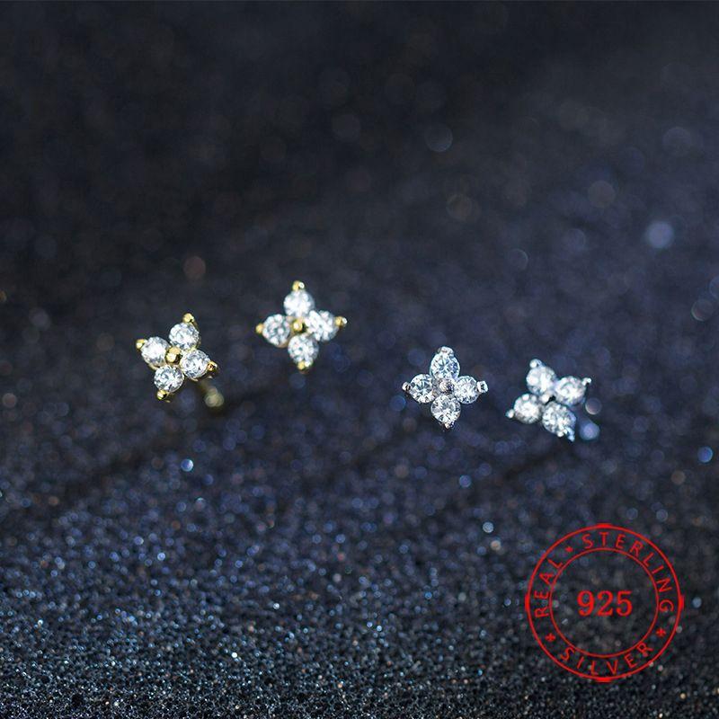 925 ayar gümüş cz taş döşeli tiny çiçek kız saplama küpe için gümüş altın mini saplama küpe düğün hediyesi