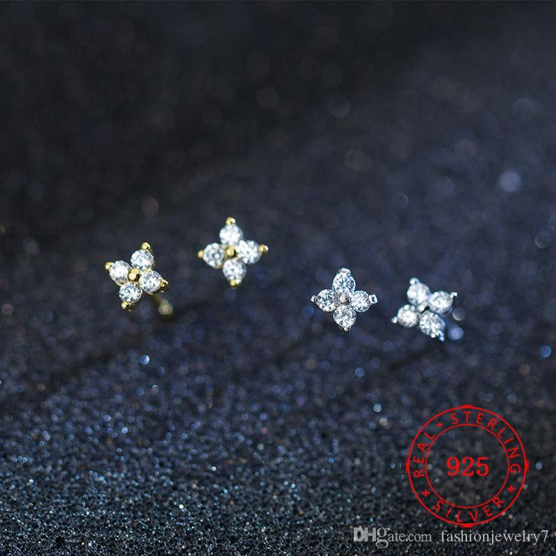 925 sterling silver cz stone paved tiny flower girl stud earring for silver gold mini stud earring wedding gift