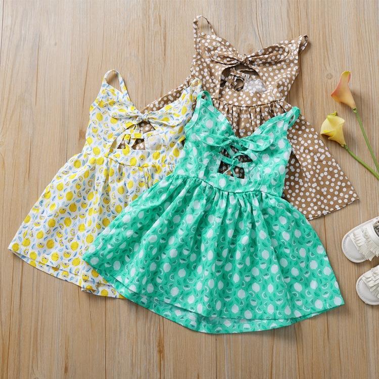 Модули девочки платья дети лето бантом платье повязки элегантный лимон Dot печатных платье без рукавов новый