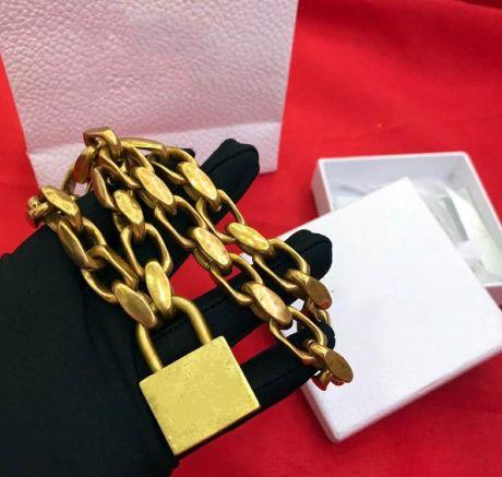 Moda Gold Lock cadeias colar de pingente de bijoux para homens e jóias amantes casamento Mulheres partido presente hip hop com caixa