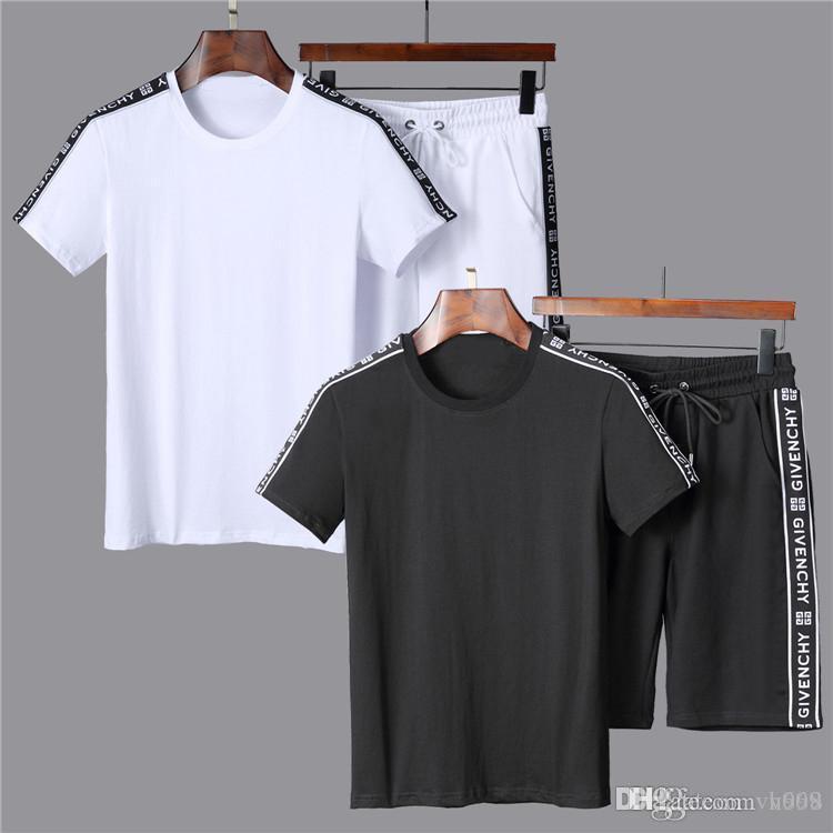 Trajes cortos de alta calidad Conjuntos de Hip Hop diseñador del chándal de los hombres de lujo de verano Mens de la marca del basculador de los trajes camiseta + pantalones cortos del sistema del juego del Sporting