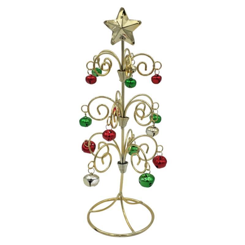 Новая мини-рождественская елка с колокольчиком Bell Desktop Miniature Рождественская елка из кованого железа для домашнего офиса #h