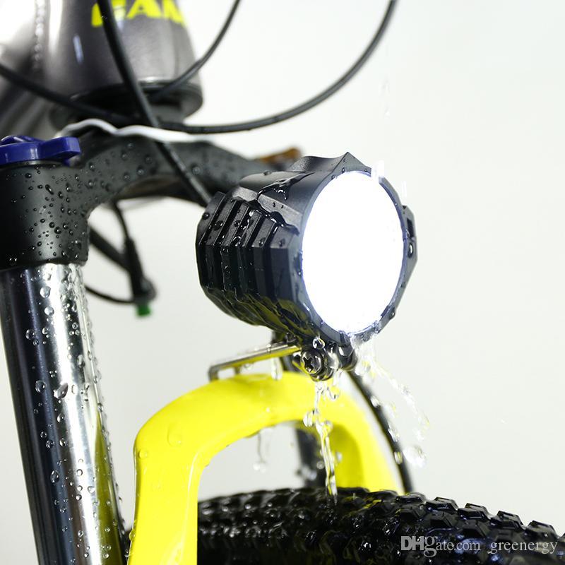 Электрический LED велосипед фара 12W 36V 48V 72V 80V Водонепроницаемый E велосипед передний свет Фонарик 4 фары с Горн для Ebike