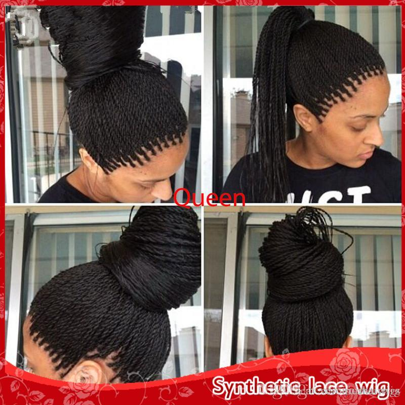 Top Selling High Density Braided Lace Front Wigs Box Synthetic Fiber Wigs Thick Full Hand Twist Synthetic Hair Micro Havana Twist Wigs