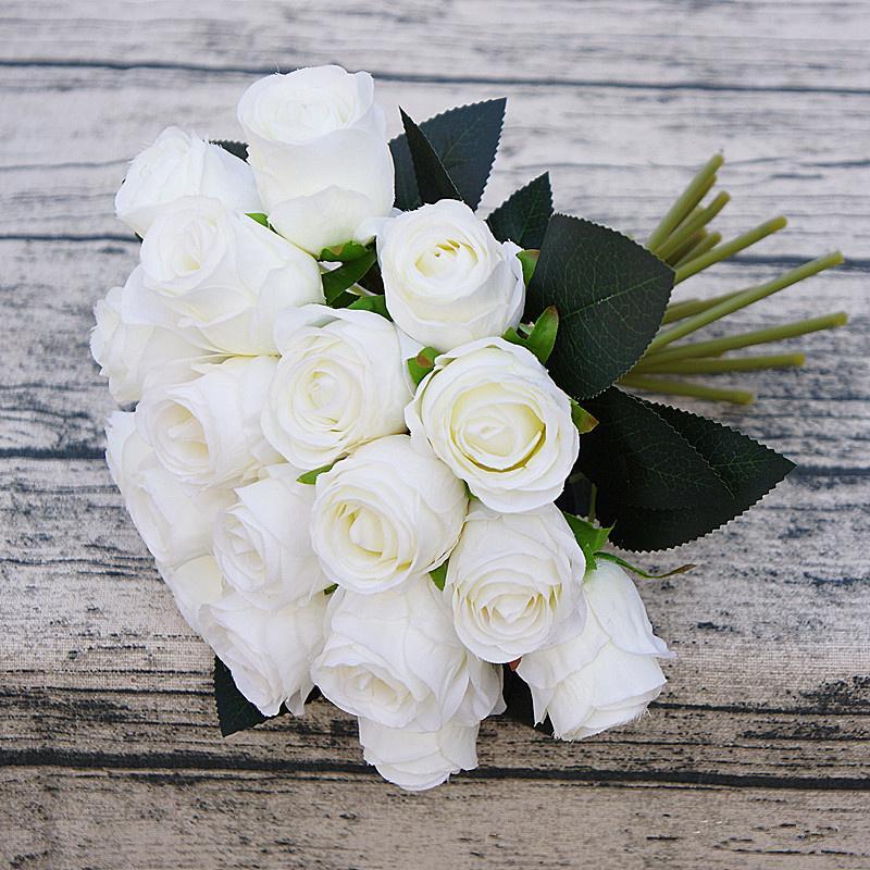 18heads/bunch rose hand flowers artificial silk flower for wedding home decoration bridal fake flores fleur artificielle roses