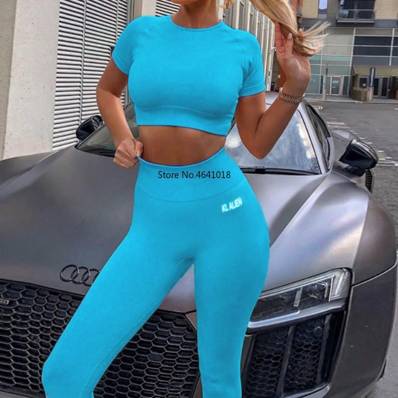 Fitness-Trainingsanzug Frauen Buchstabedruckes 2020 Mode 2-teiliges Set dünn Sportwear elastische Höhe playsuit weibliches Casual-Outfit