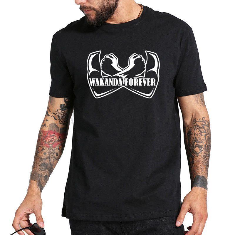 Wakanda für immer T-Shirt Schwarzer Panther-T-Shirt Männer 100% Baumwolle O-Ansatz T-EU-Größe Männer-T-Shirt drucken Baumwolle Kurzarm-T-Shirt
