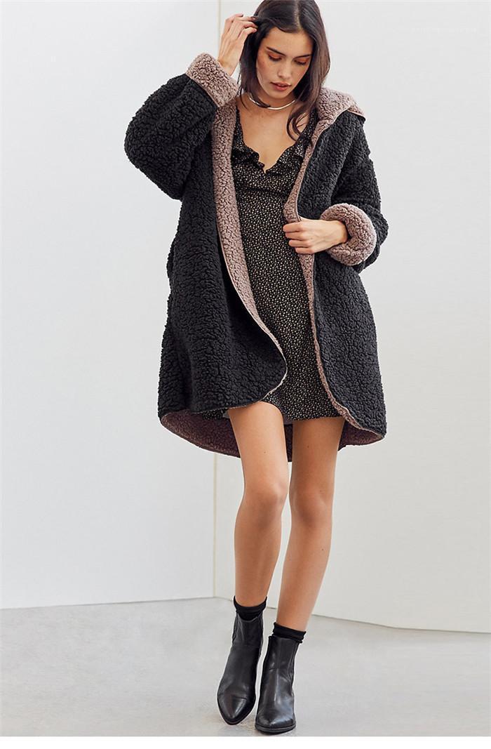 Estilo de la moda con capucha lanas largo del sombrero femenino de la manga ropa linda Estilo Casual Ropa del diseñador invierno de las mujeres