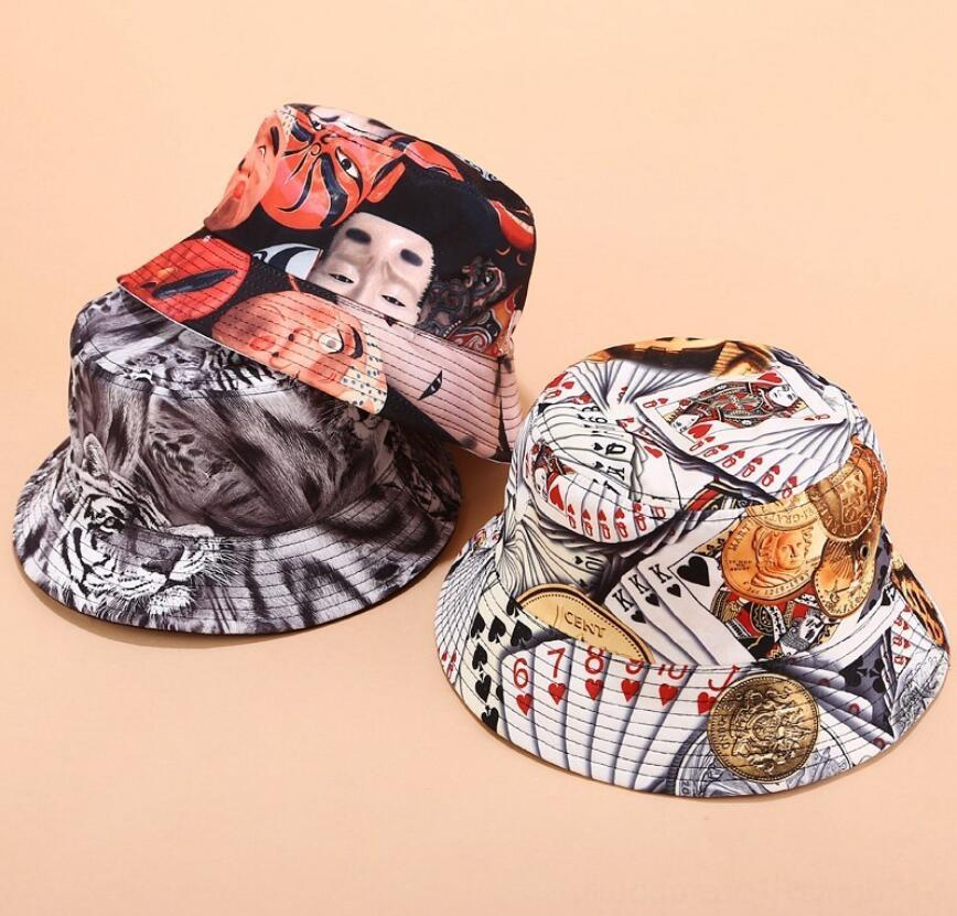 2019 Two Side Reversible graffiti Bucket Hat for men women Tiger Playing Hats & Caps Hats, Scarves & Gloves cards hip hop Bob Caps trendy pa