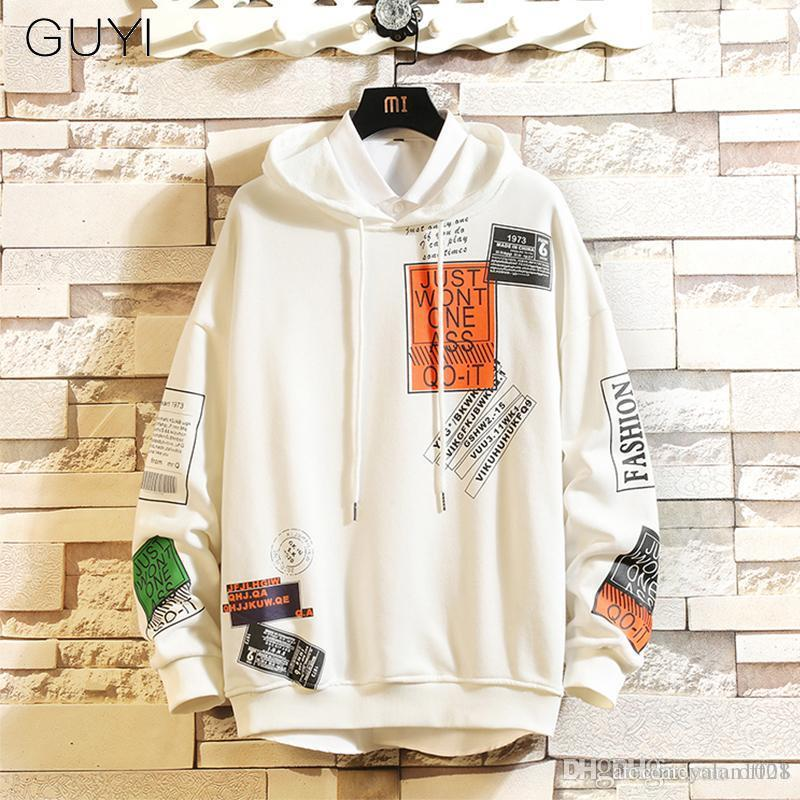 Guyi Brief gedruckt Kapuze Männer PulloverHoodies Sweatshirts Männer Harajuku Hip Hop Hipster Street WeißHoodie Off Tops 2019 T200116