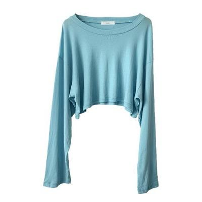 20s S / S Femmes manches longues T-shirts sexy de mode couleur unie Femmes Chemises Nouveau dames style court T-shirt 3 couleurs Taille libre meilleure qualité