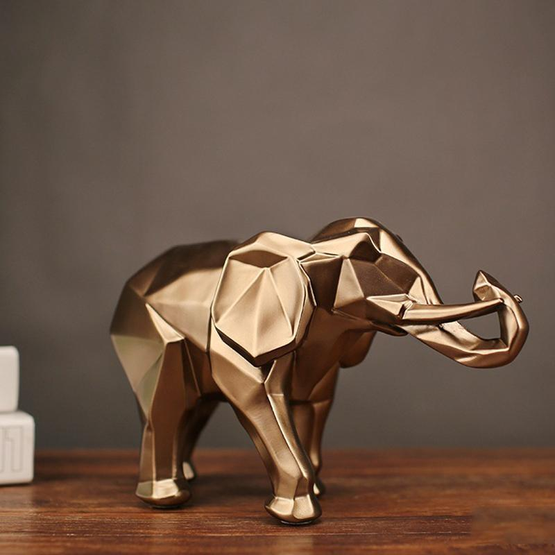 Fashion Abstract Gold Elephant Statue Resin Ornaments Home Decoration Accessories Gift Geometric Elephant Sculpture Crafts room T200619