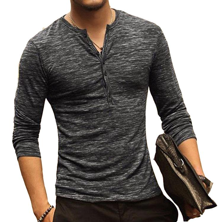 Mens Tops Male Long Sleeve Casual T shirts Printed Blouse Stylish Slim Fit
