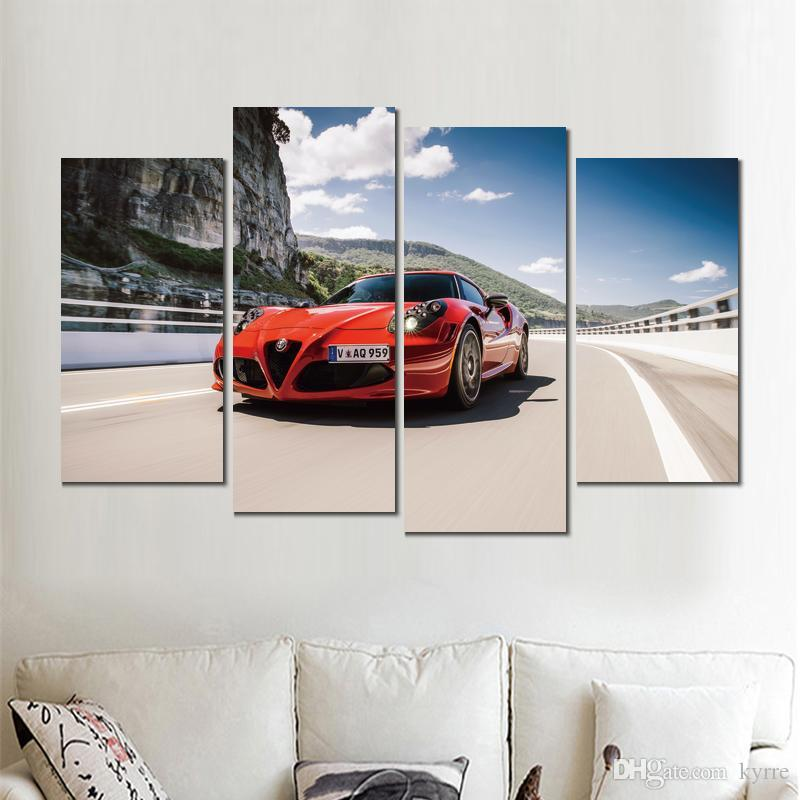 4 sets canvas prints alfa romeo spec red painting wall pictures for living room decoration