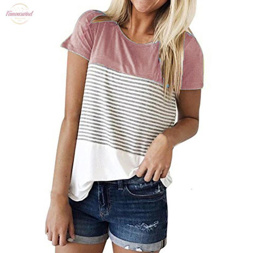 Yaz Patchwork Şerit T Shirt Kadınlar Tee Casual Kısa Kollu Plaj T Shirt Kadın Tunik Ropa Mujer C2235 Tops