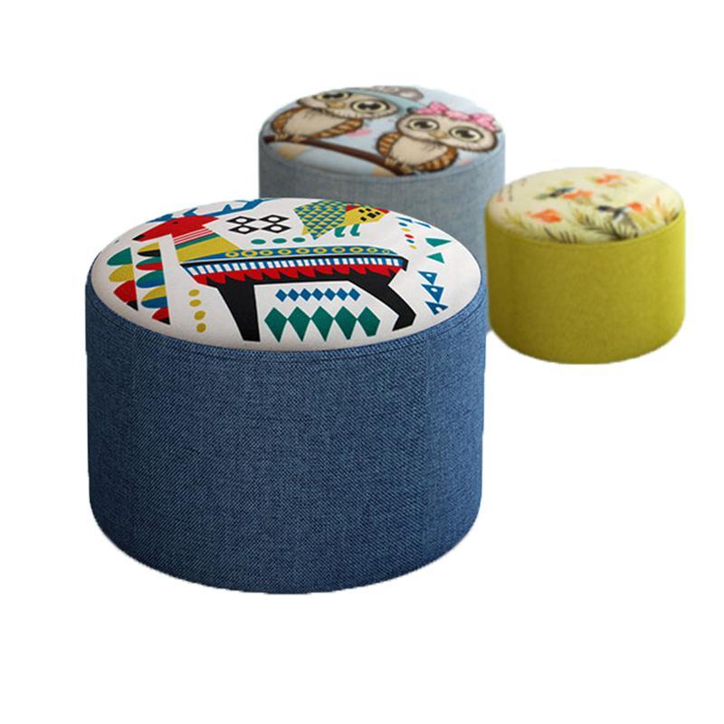 Kreative Hocker Mode Sofa Hocker Stoff Hocker Wohnzimmer Holzrahmen Kleine Bank Startseite Einfache Kind Seater 20cm