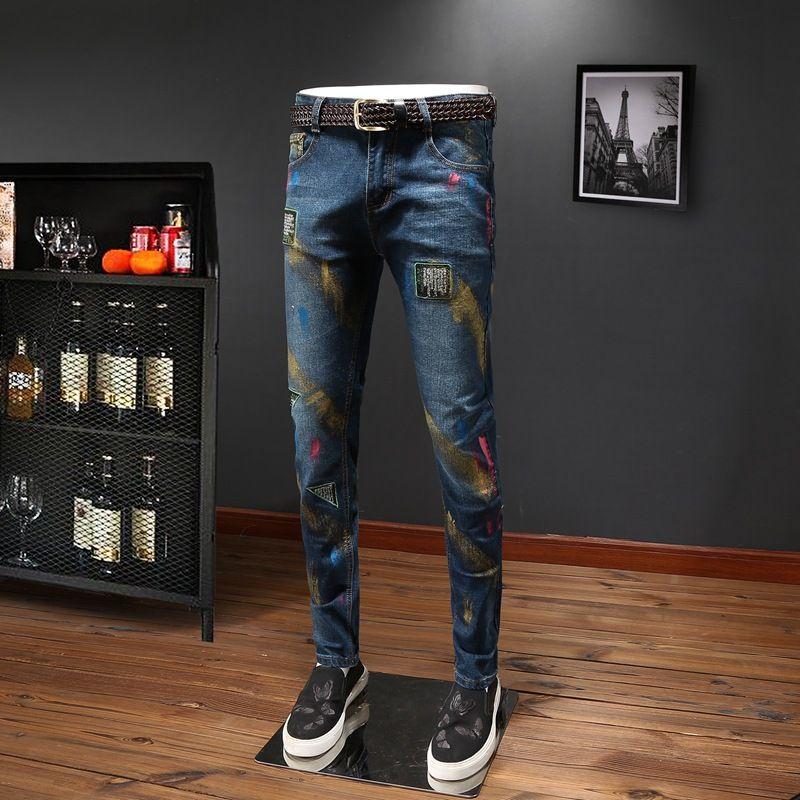 Erkek Jean Pantolon Sonbahar Kişiselleştirilmiş Jeans Homme Moda Erkek Pantolon Nakış Jeans Erkekler İnce Buzağı Pantolon 2020 Erkekler Moda Hombre