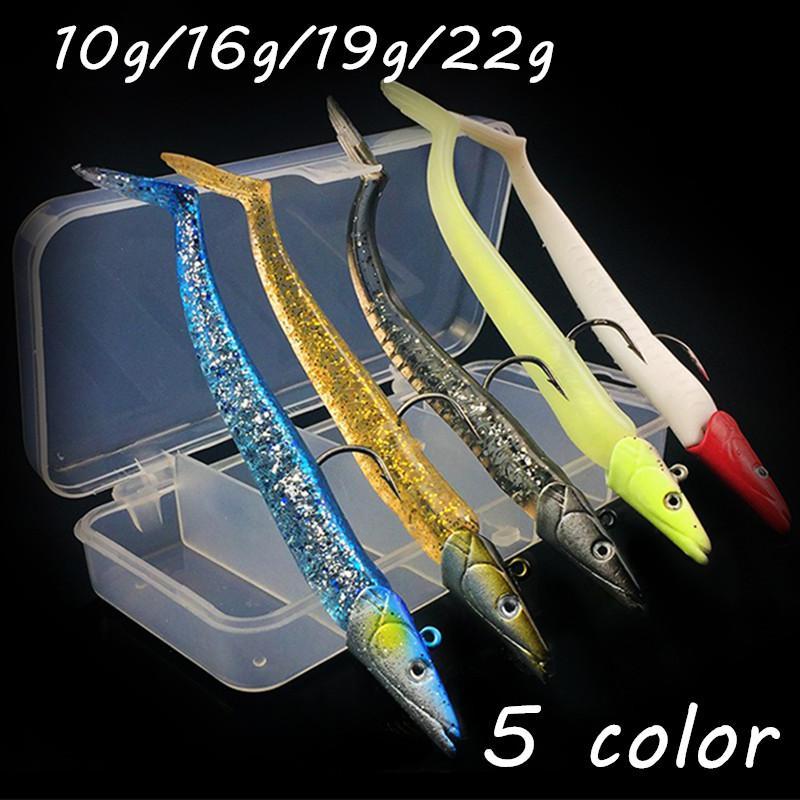 5pcs/box 3D Eyes Jigs Hook Fishing Hooks 5 Colors Mixed 110mm 10g/16g/19g/22g Fishing Lure Soft Baits & Lures WA_28