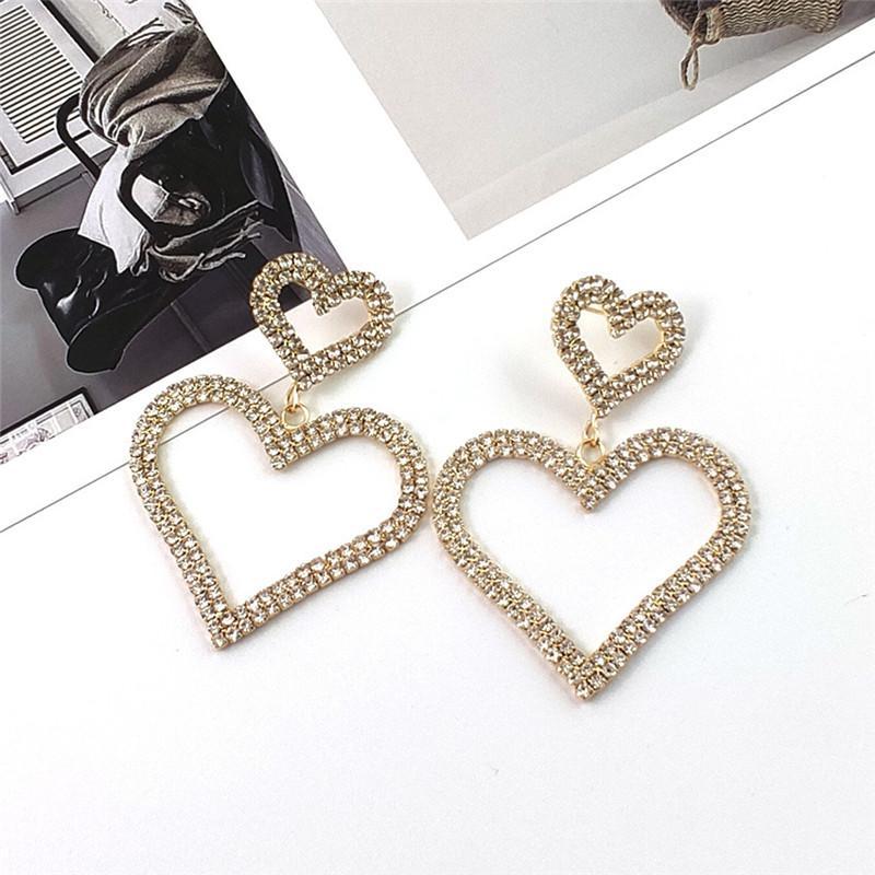 Свободный DHL Урожай Rhinestone серьги Модный Элегантный Алмазная Double Love Heart Shape серьги мотаться Stud Подарки