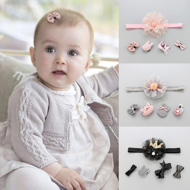 2019 5Pcs/Lot Cute Girl Kid Cotton Bow Flower cluster Headband+Headwear Head Baby New Born Hair Band Accessories Fashion Gift