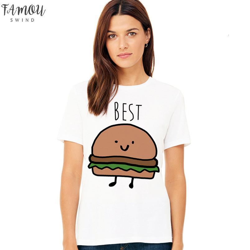 Diseño divertido del mejor amigo camiseta a juego Bff camiseta comida rápida de camiseta para Femme algodón remata tes Hamburguesa Y