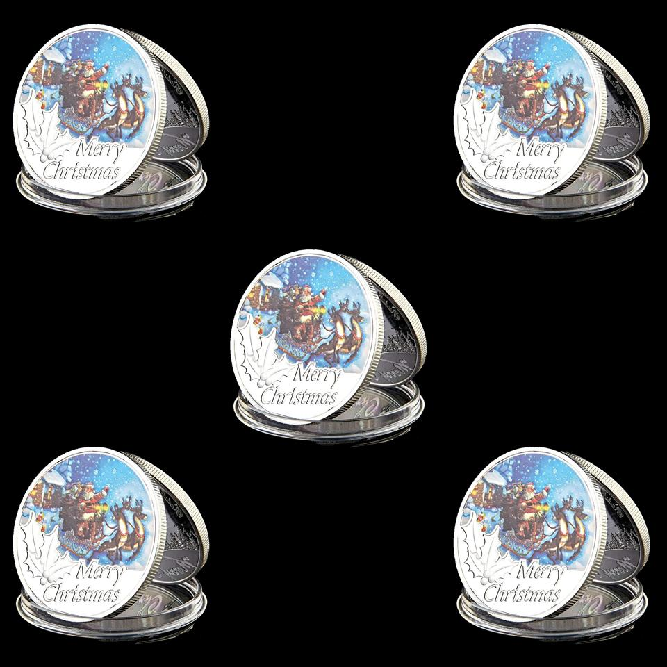 5pcs Festival Gifts Silver Coin 999.9 Silver Plated Cartoon Cute Animal Metal Coin Art Ornament for Christmas