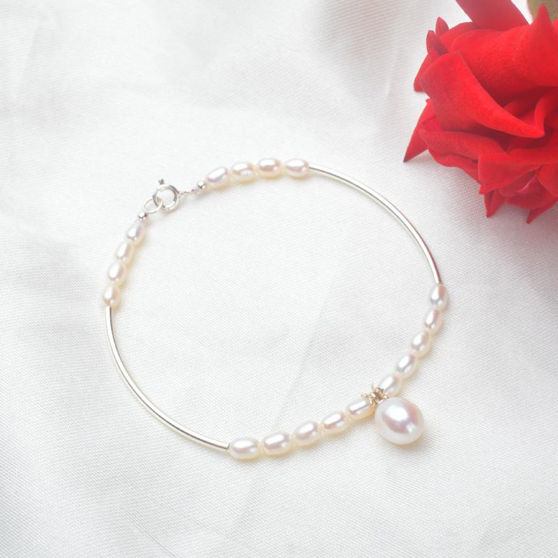 ASHIQI Genuine Mini 3-4mm Natural Freshwater Pearl Bracelets with 925 Sterling Silver for women gift