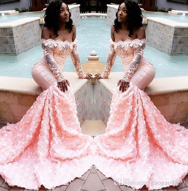 2019 new African pink Prom Dresses Mermaid Sheer Neckline Appliques Long Sleeves Bateau Sweep Train arabic dresses dubai Party Evening Gowns