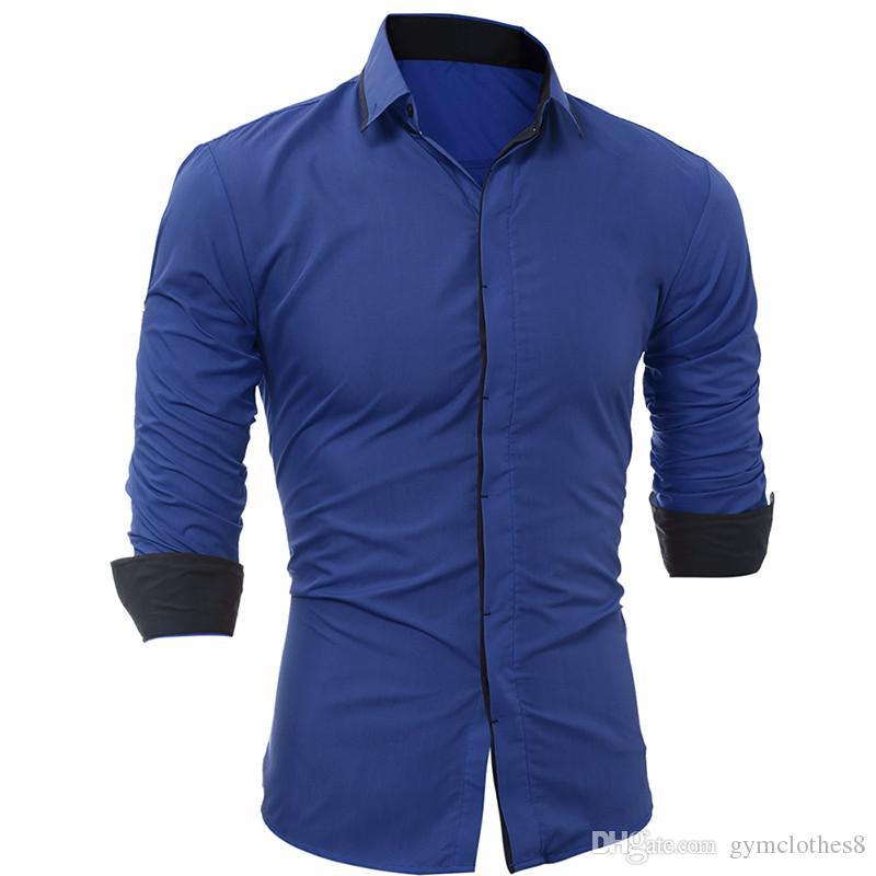 Slim Hommes Chemises Mode lambrissés Breasted Hommes simples Chemises à manches longues hommes Designer Vêtements