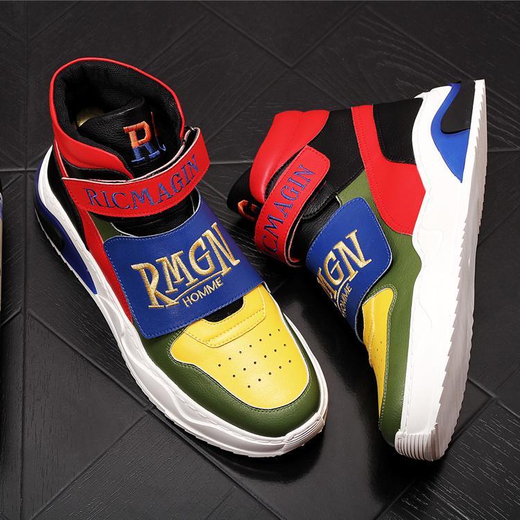 Trend Designer modo degli uomini di colore misto ricamo casuale Stivaletti inverno alte Retro scarpe da tennis maschile giovanile Trending Scarpe 8 N ° 20 / 20D50
