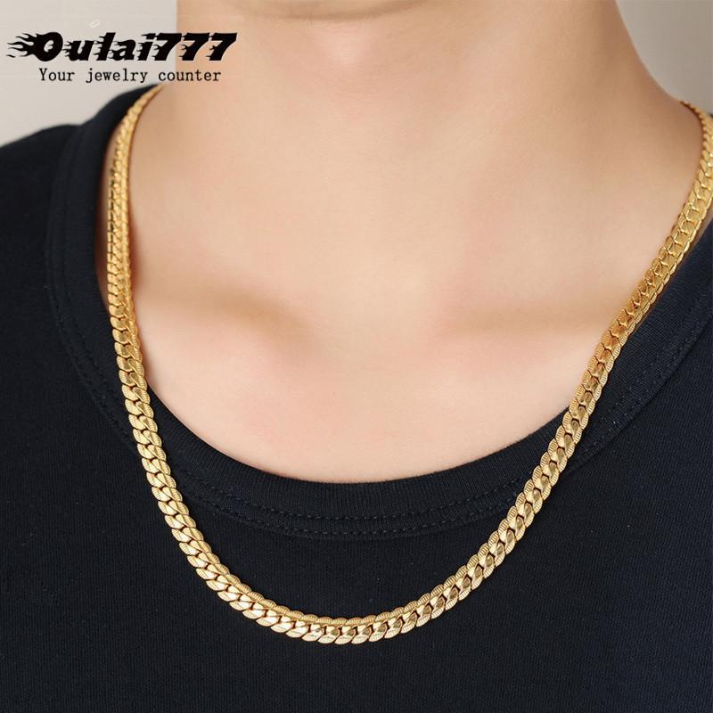 2019 Edelstahl-Mann-Halskette Hip Hop Freund Geschenk der Männer Großhandelsmann Goldkette Figaro Geprägte Ketten Male Chocker