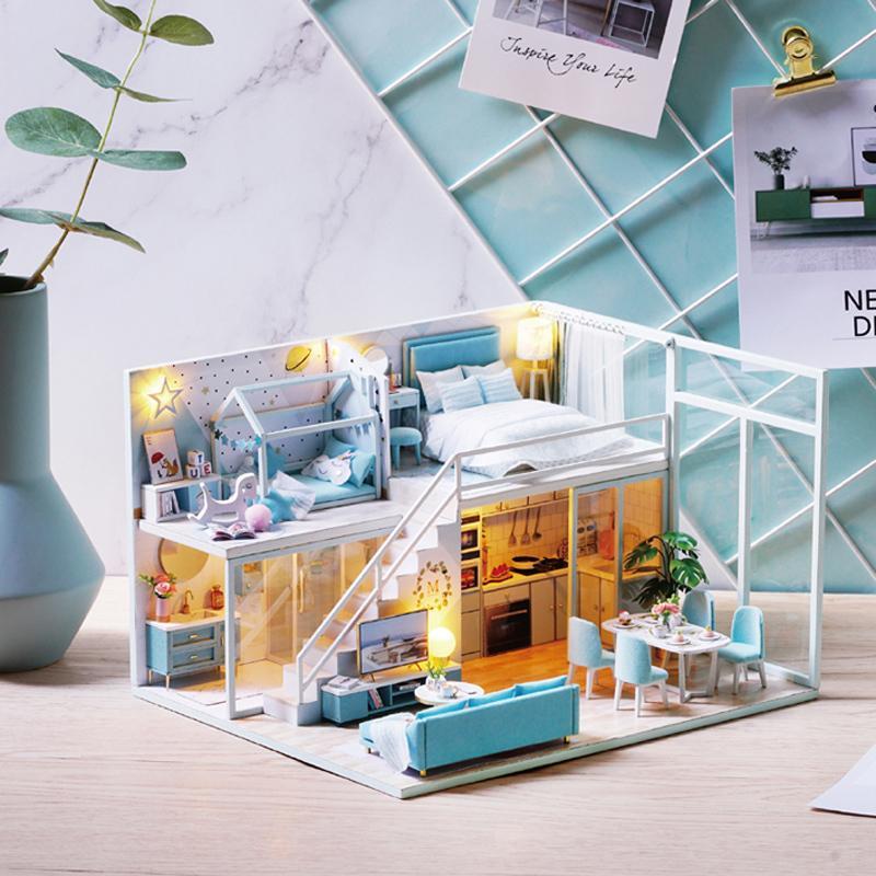Sala bonito DIY miniatura de madeira boneca Móveis poeira tampa Dollhouse Kit Casa Modelo brinquedos para crianças Presente de Natal Y200414