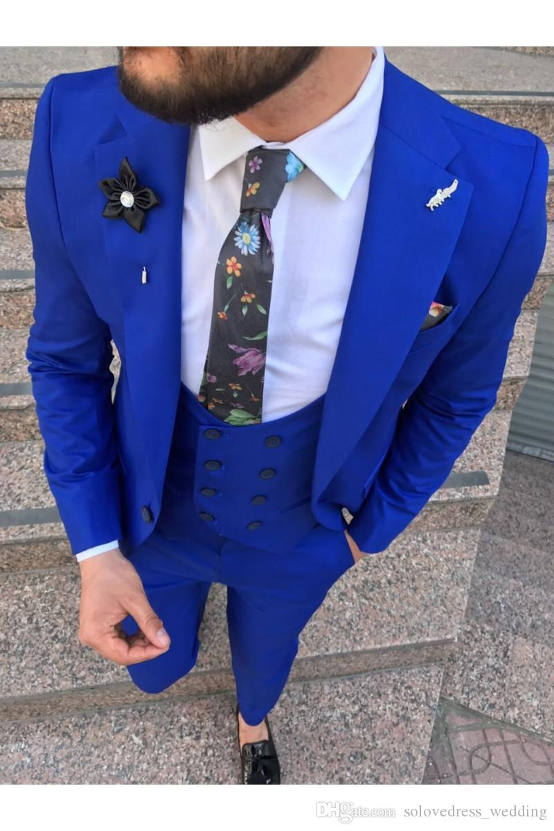 Nouveaux Hommes Costumes Formels Tuxedos Groom Bleu Royal 3 Pièces Slim Fit Homme Costumes Costumes De Mariage Pour Hommes (Veste + Pantalon + Gilet)