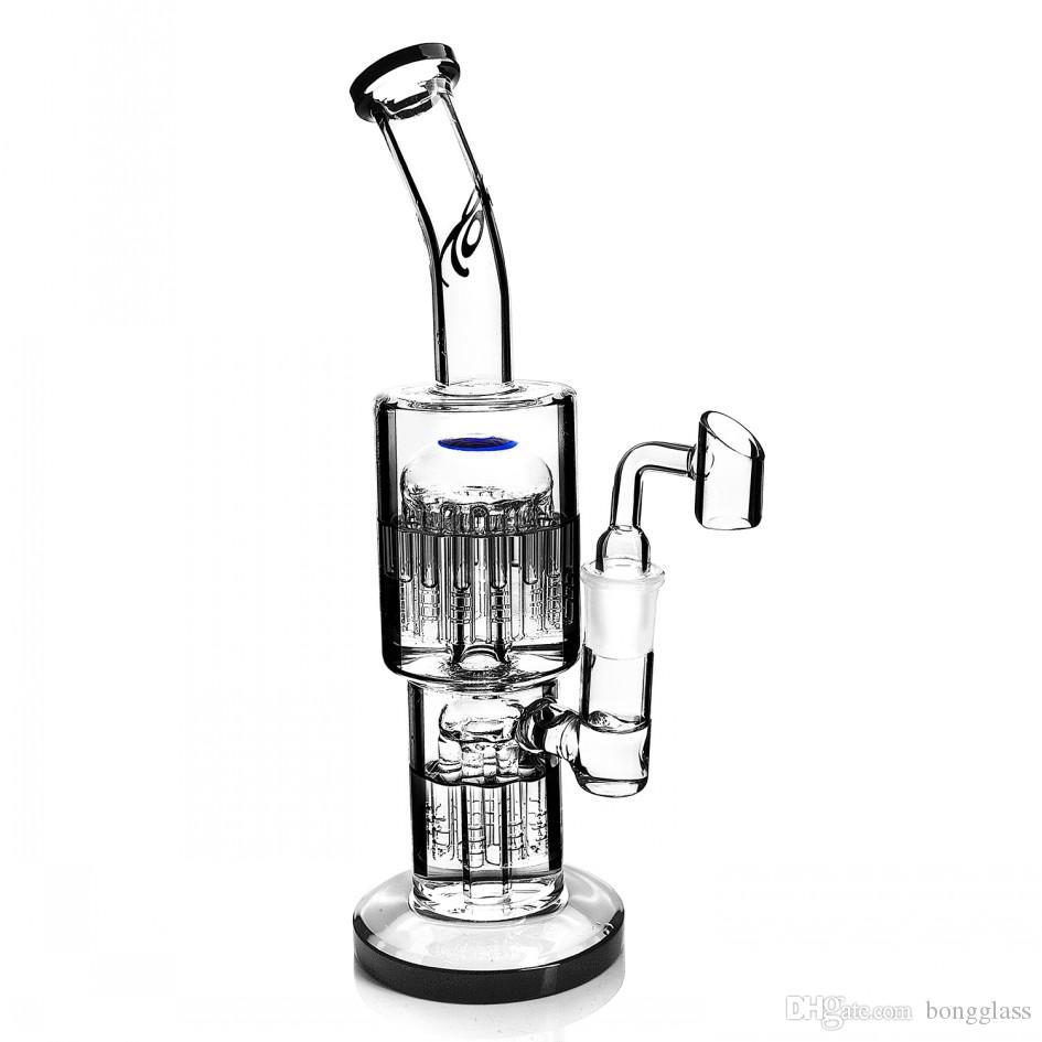 11.4 인치 큰 유리 봉지 recycler dab rigs 물 담뱃대 오일 버너 파이프 팔 트리 퍼크와 18mm banger