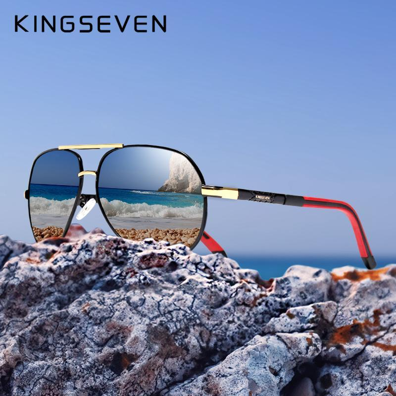 Kingseven dell'annata degli uomini di alluminio occhiali da sole polarizzati Classic Marca Sun Glasses Coating Lens guida Shades per gli uomini Wome Wupdf /