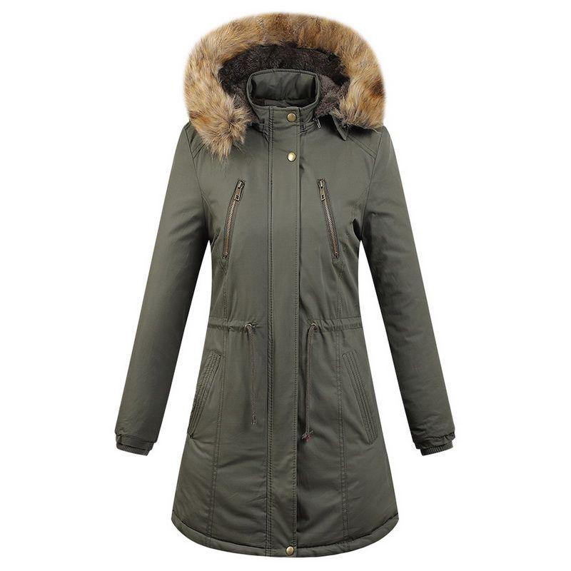 Damen Down Parkas Laamei Winter Womens Solide Warme Jacken und Mäntel Verdickte Kordelzug Taille Design Plus Größe Kapuzenjacke