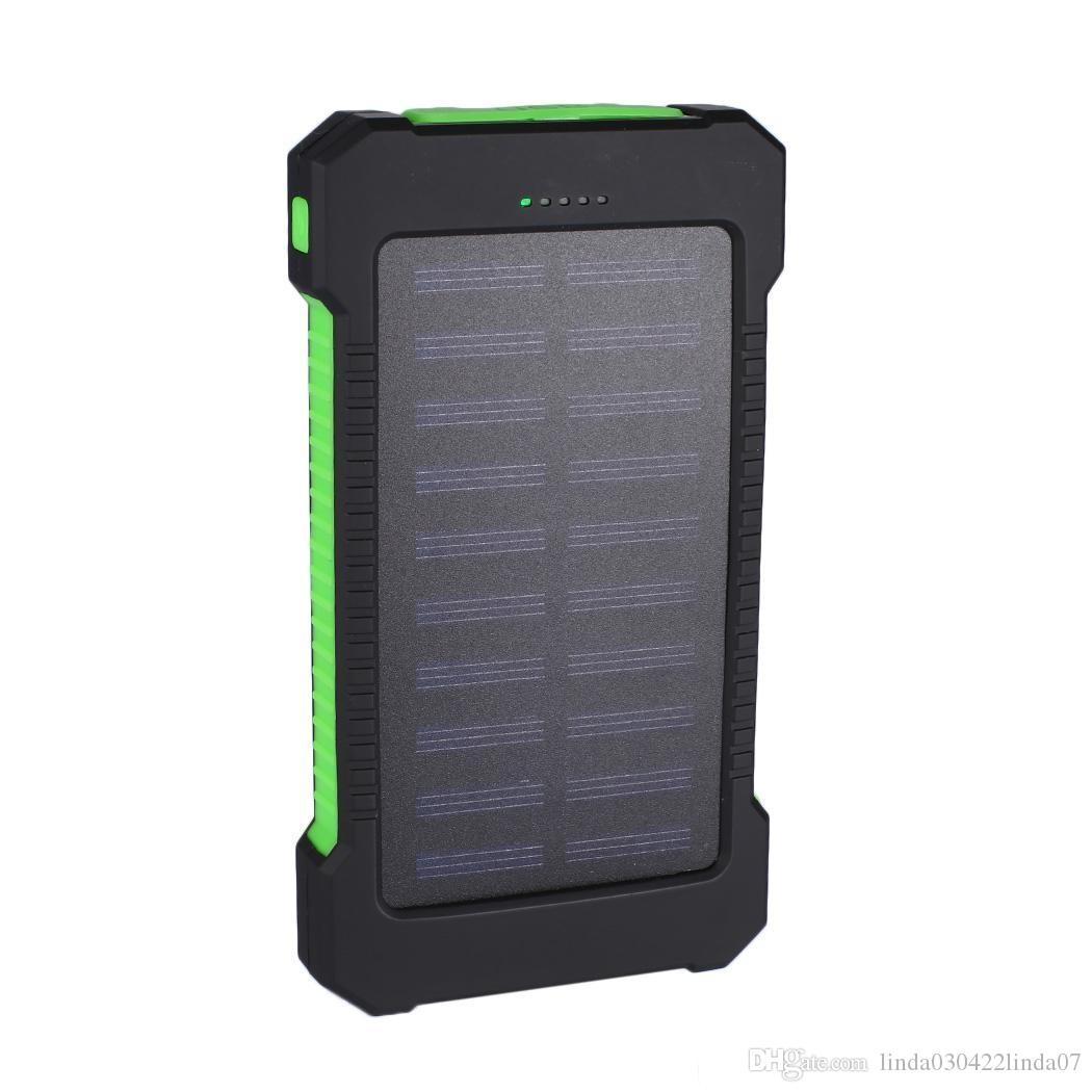 Portable Solar Power Bank 10000mah Waterproof External Battery Backup Powerbank 10000 mah Phone Battery Charger LED Pover Bank