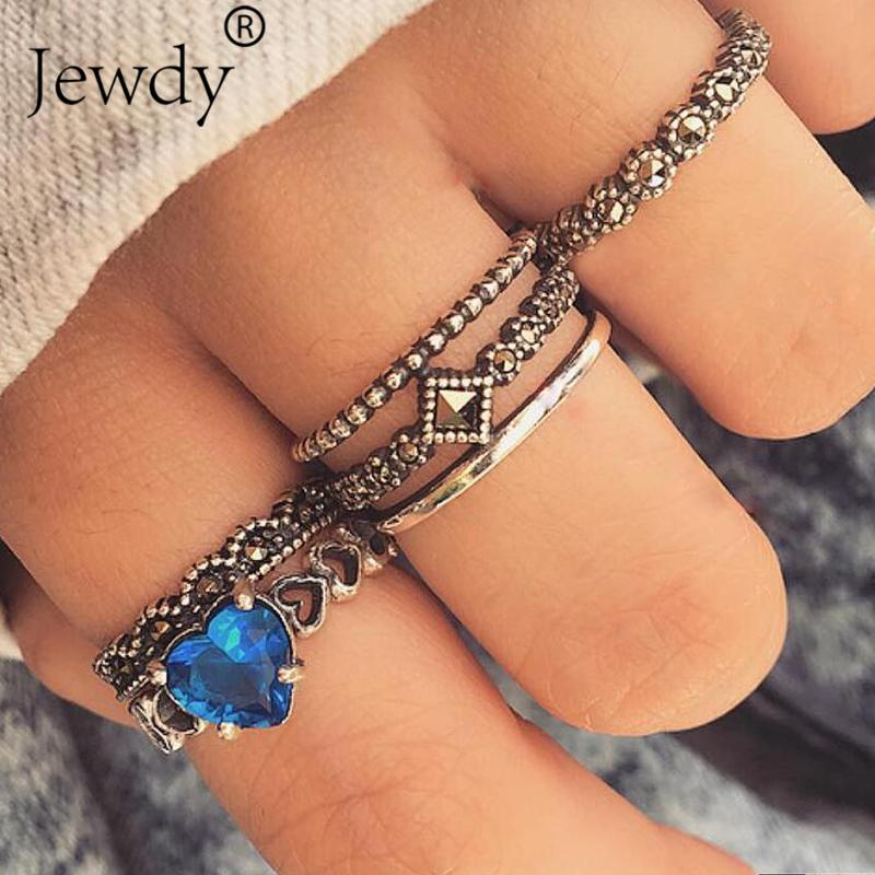 6pcs/set Blue Crystal Wedding Rings Hollow Heart Statement Cubic Ziron Knuckle Ring Women Party Jewelry Valentine's Day Gift