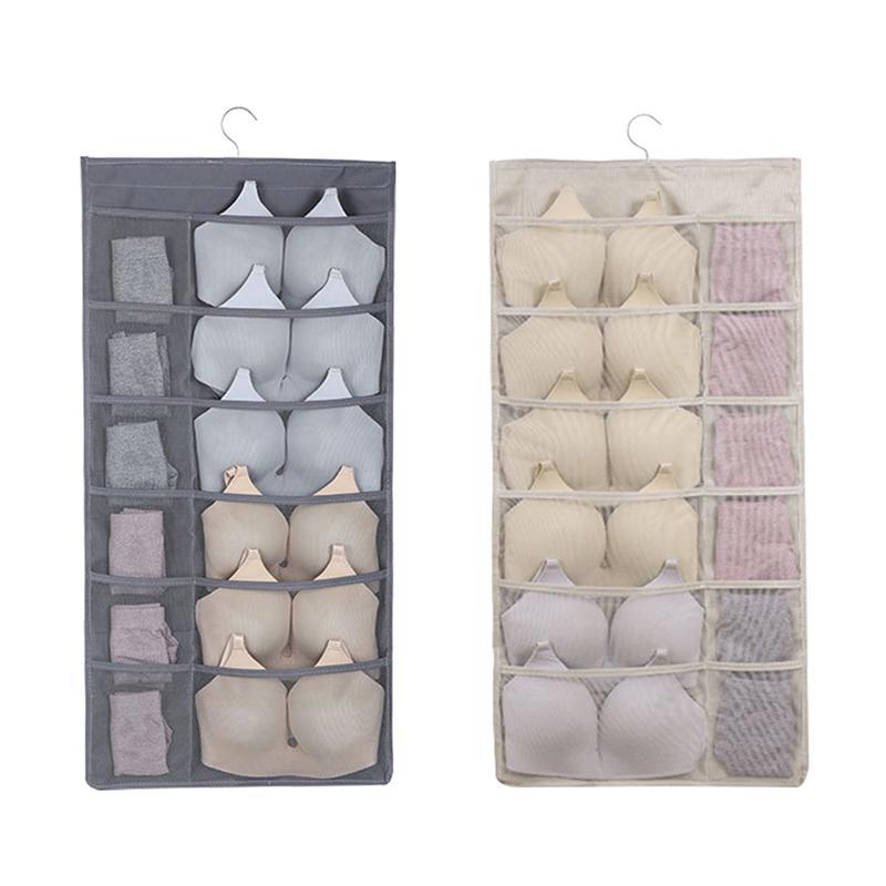 Soutien-gorge Sous-vêtements suspendus Diviseur de stockage organisateur, 30 poches filet rotatif Hanger métal