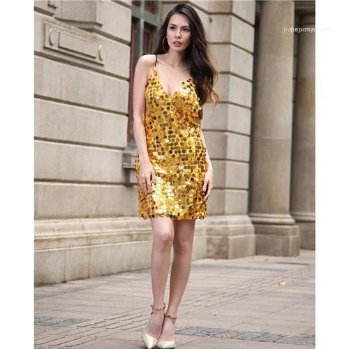 Sheath Party Designer Clothing Night Club Sequins Sexy Dresses Fashion Apparel Womens Summer V-neck Dresses Sleeveless