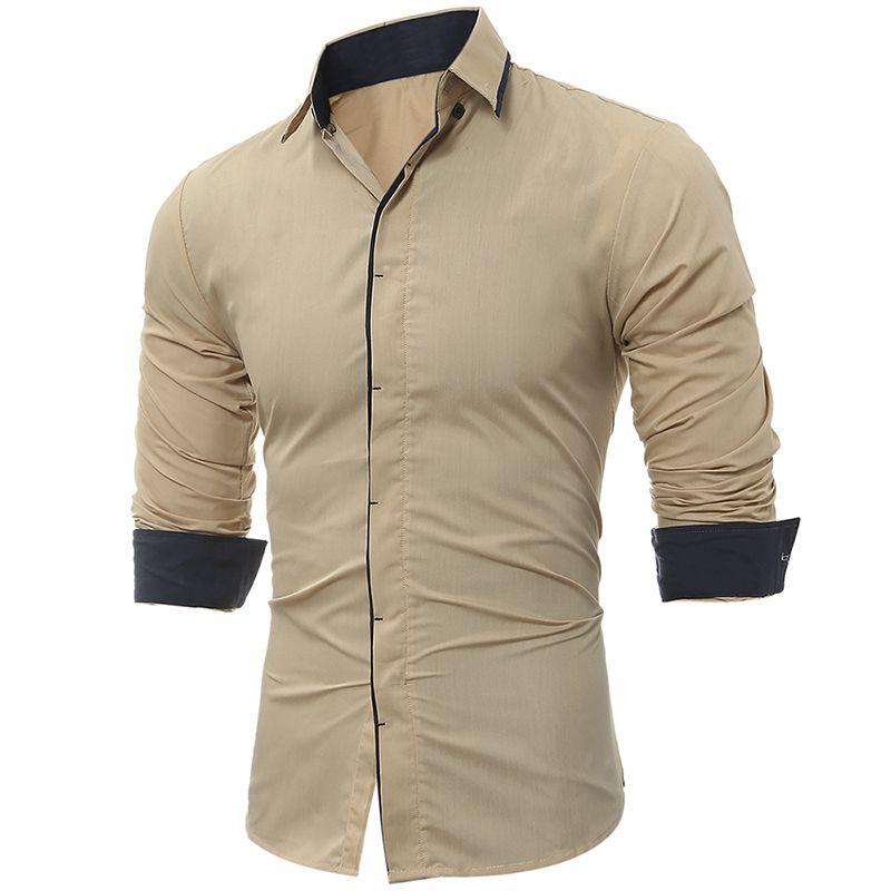 Erkek Gömlek Moda Erkek Gömlek Uzun Kollu Tops Klasik Koyu Gaz İnce Erkekler Gömlek Renk Yan Erkek Elbise Gömlek Hit