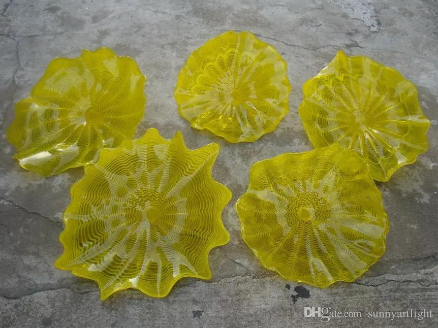 Modern Plates Decoração Luzes de Parede Amarela Para Casa Preço Hall Artístico Murano Placas De Parede De Vidro