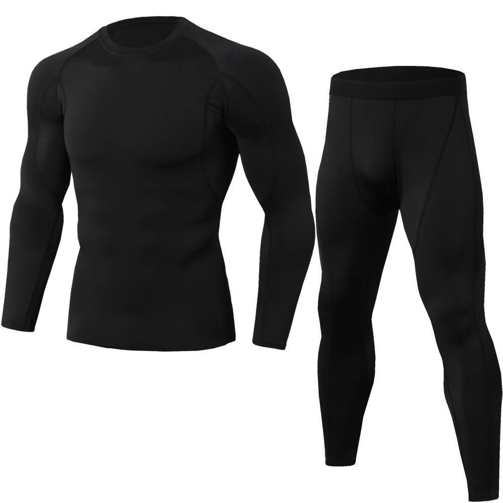 La compression des hommes en cours d'exécution de jogging convient à des vêtements de sport, un t-shirt long et un pantalon de gym, une séance d'entraînement de remise en forme, des vêtements de collants, vêtements 2pcs / ensembles