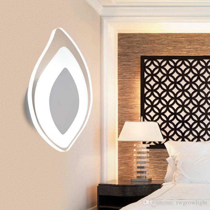Personalidad creativa llevó lámpara de pared de acrílico baño dormitorio simple pasillo de la cama mueble de TV sala de estar moderna hoja luces M46